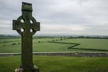 Cross And Landscape At Rock Of Cashel, Ireland