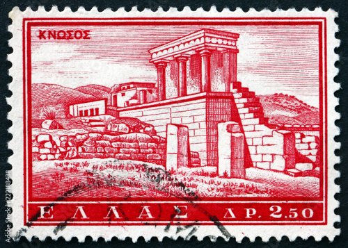 Spoed Foto op Canvas Mediterraans Europa Postage stamp Greece 1961 Knossos, ancient monument