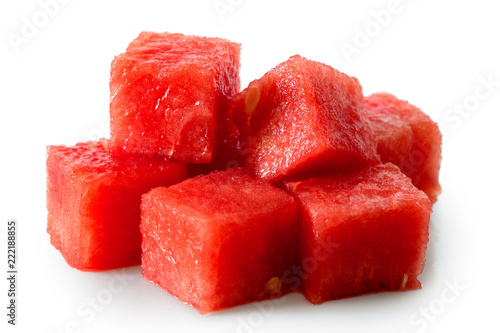 Pile of seedless watermelon cubes isolated on white.