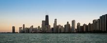 Chicago Skyline Sundown Panorama