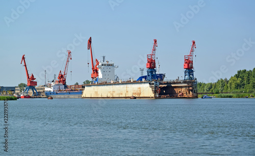 Tuinposter Poort Floating ship dock in port of the city Svetlyj. Kaliningrad region