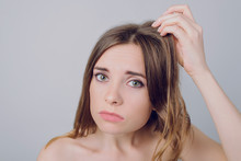 Mask Stress Vitamits Concept. Close Up Photo Of Sad Unhappy Worried Frustrated Nervous Upset Girl Looking Examining Expertizing Her Damaged In Bad Condition Hair Isolated On Gray Background Copy-sapce