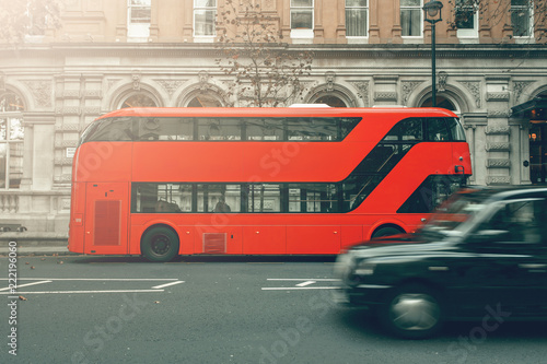 Famous London Transport Bus and Taxi