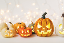 Halloween Pumpkins On A Shiny ...