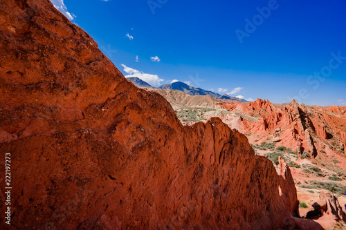 the landscape of the red mountains