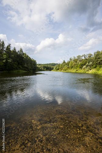 Printed kitchen splashbacks Beige A view of the forest lake on a sunny autumn day. Sigulda, Latvia