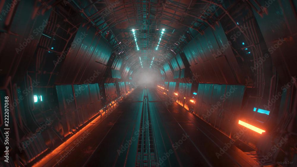 Fototapeta sci fi tunnel