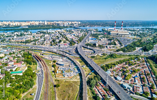 Poster Centraal Europa Aerial view of a road and railway interchange in Kiev, Ukraine