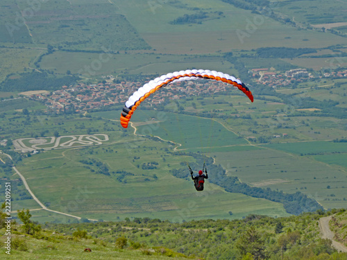 Paraglider at Sopot, Bulgaria
