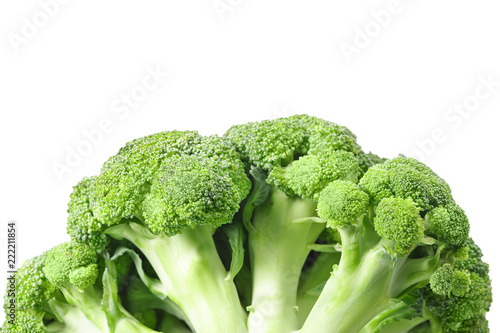 Broccoli isolated on white background. Close up.
