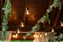 Decorative Garland Of Electric Incandescent Lamps And Garlands Of Greenery And Flowers. Festive Decoration Of The Territory.