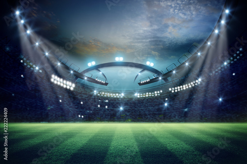 Spoed Foto op Canvas Stadion lights at night and football stadium 3d rendering. Mixed photos