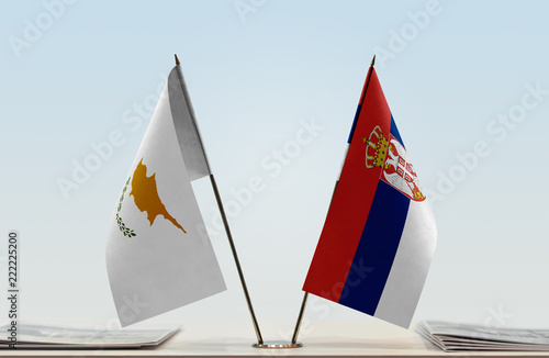 Two flags of Cyprus and Serbia