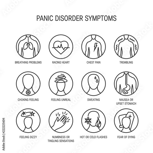 Fotografía  Panic attack symptoms vector