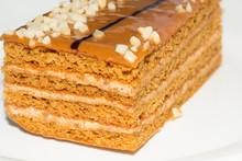 Honey Cake On White Background Close Up