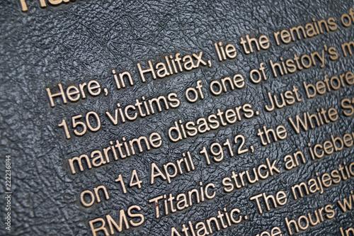 Photo  Titanic Plaque in Fairview lawn cemetery, Halifax.