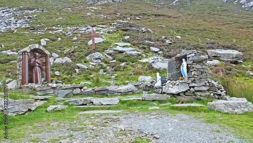 Photo  Statue of Padre Pio and Virgin Mary at a Shrine in Mamore Gap Donegal Ireland