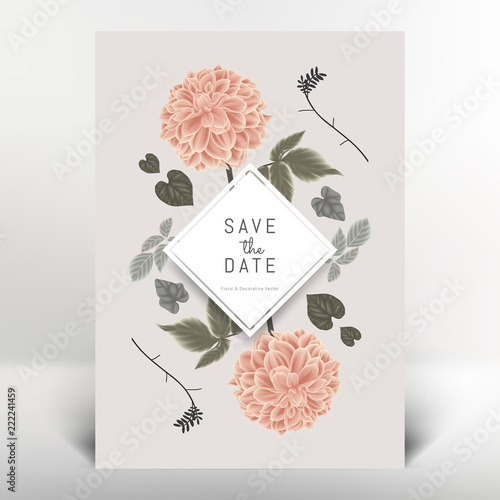 Stampa su Tela Botanical greeting/invitation card template design, orange dahlia flowers and le