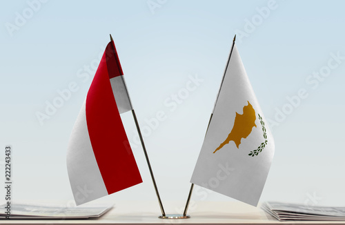 Two flags of Monaco and Cyprus