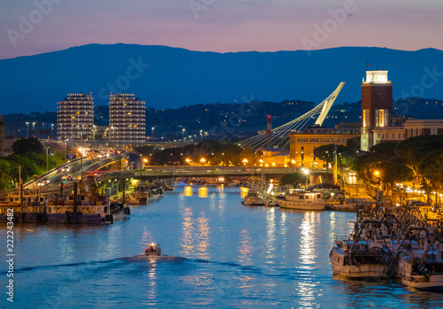 Pescara (Italy) - The view in the dusk from Ponte del Mare monumental bridge in the canal and port of Pescara city, Abruzzo region Wallpaper Mural