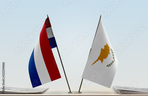 Two flags of Netherlands and Cyprus