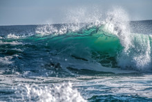 Turquoise Blue Wave Breaking A...