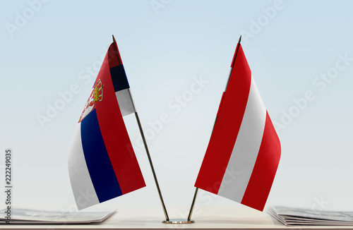Two flags of Serbia and Austria