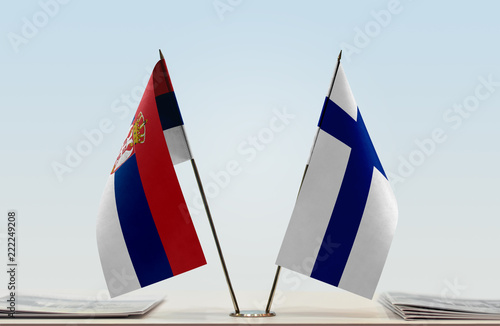Two flags of Serbia and Finland