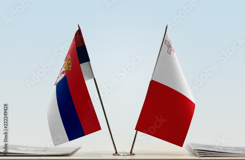 Two flags of Serbia and Malta