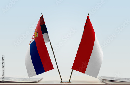 Two flags of Serbia and Monaco