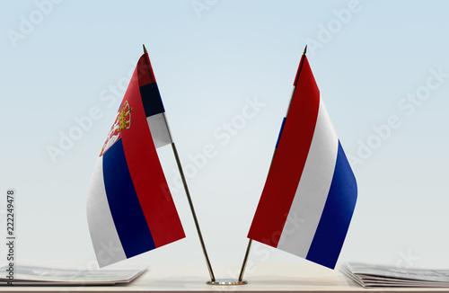Two flags of Serbia and Netherlands