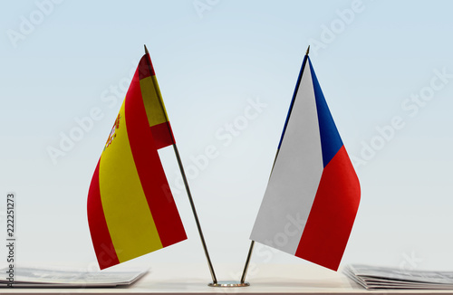 Photo  Two flags of Spain and Czech Republic