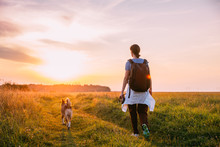 Young Woman Backpacker Walking With Dog In Summer Meadow Grass D