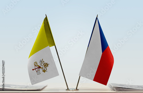 Photo  Two flags of Vatican City (Holy See) and Czech Republic