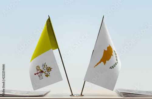 Tuinposter Cyprus Two flags of Vatican City (Holy See) and Cyprus
