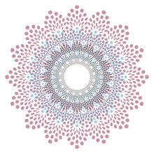 Graphic Doily Flake In Transparent Shades Of Brown Blue On White