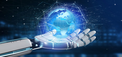 Cyborg hand holding a Connected network over a earth globe concept on a futuristic interface - 3d rendering