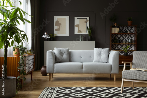 Real photo of dark grey living room interior with posters and molding on wall, p Canvas Print