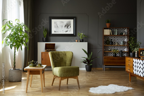 Green armchair standing in real photo of living room interior with retro cupboar Canvas Print