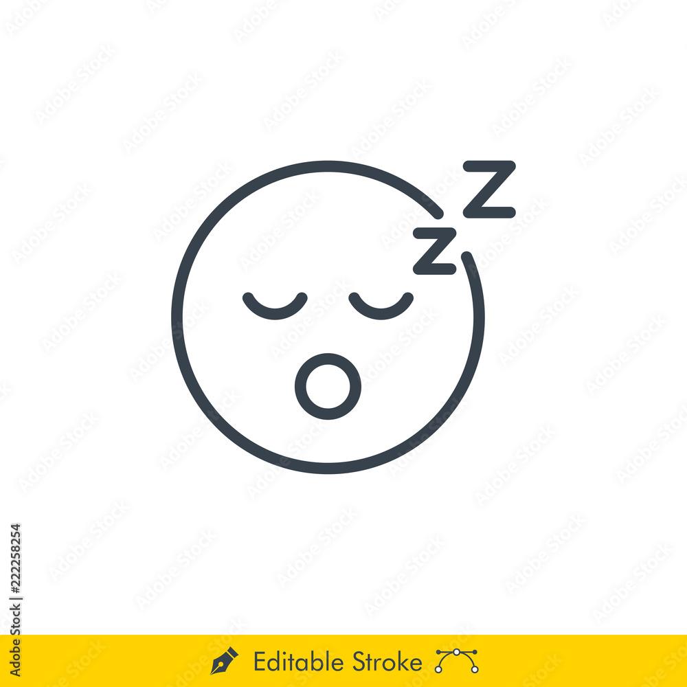 Fotografía Sleep Emoji Emoticon Icon Vector In Line Stroke