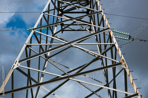Valokuva  Transmission tower with high voltage wires