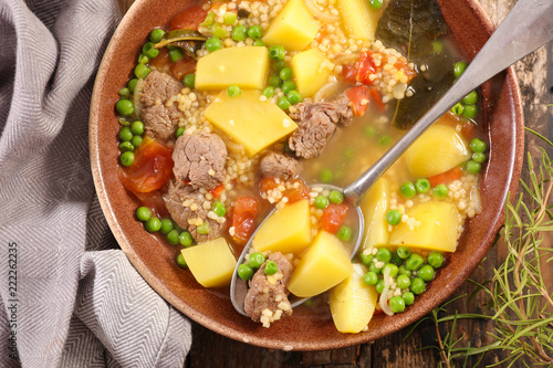 beef and vegetable cooked with broth