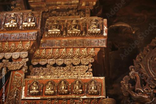 Fotografia  Buddhist religious symbols inscriptions in Tibet old runes