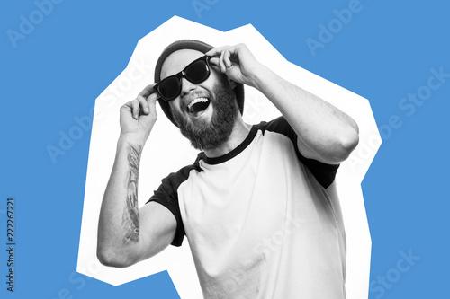 Fotografie, Obraz  Crazy hipster man emotions