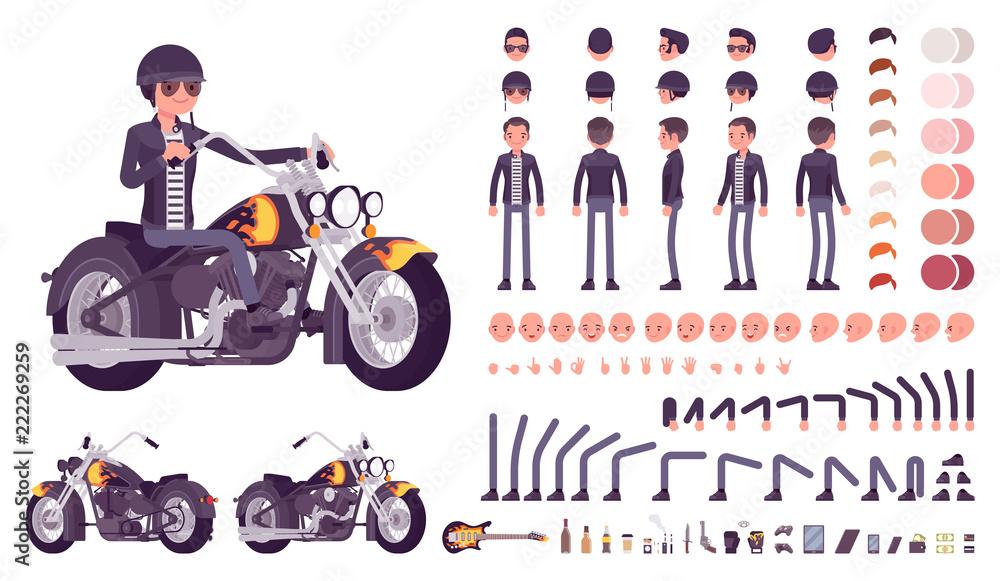 Fototapeta Cool rocker boy in biker leather jacket character creation set