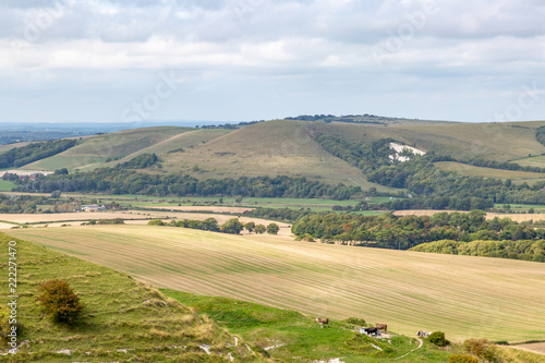 Looking across the South Downs towards Mount Caburn, from Firle Beacon
