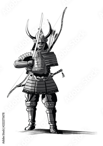 Tuinposter Art Studio Japanese samourai with sword and bow