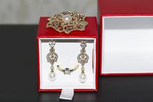 Diamond Earrings And Brooch Wi...