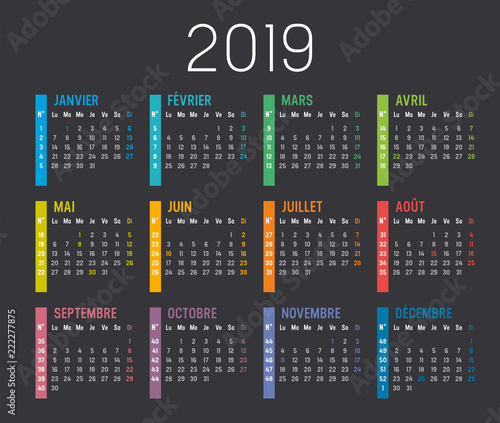Calendrier Agenda 2019 Avec Numéros De Semaines Buy This