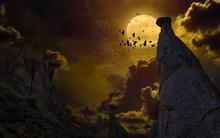 Full Moon, Silhouette Of Rock,...